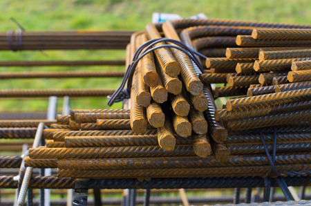 iron bars: steel bars used for concrete rebar in the construction industry Stock Photo