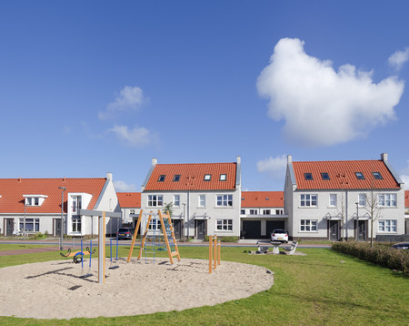 newly build residential area with kids playground photo