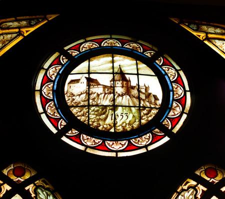 burg: stained glass window in Burg Bentheim, a medieval castle in Bentheim, Germany