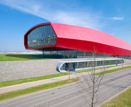 The wall, a red shopping mall and noise barrier along the A2 highway in Utrecht, Netherlands. With 800 meter this is also the longest building in the netherlands