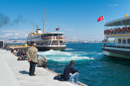 Ferry boat leaving Karakoy pier in Istanbul. Nearly 150,000 passengers use ferries daily in Istanbul, due to easy access to two different continents.