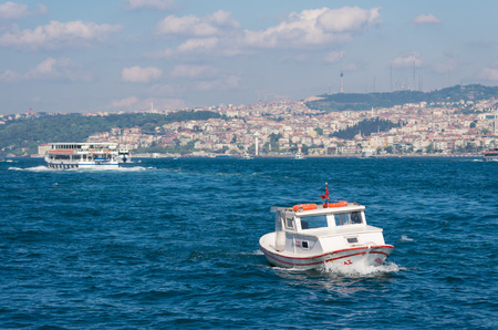 kadikoy: boat at the golden horn, a horn-shaped estuary, and a major urban waterway. It is also the primary inlet of the Bosphorus.