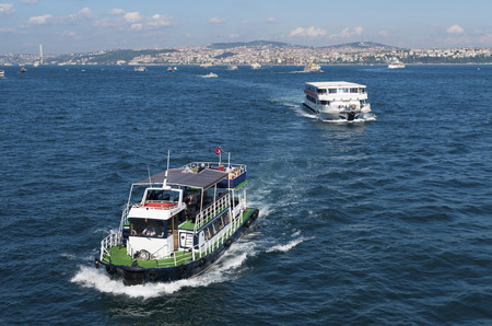 kadikoy: Ferry boat at the golden horn, a horn-shaped estuary, and a major urban waterway. It is also the primary inlet of the Bosphorus. Editorial