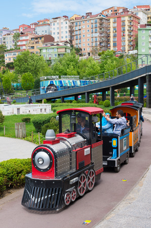Touristic train in Miniaturk park in istanbul, the largest miniature park in the world. The park contains 105 buildings, each replicated on a scale of 1:25. Editorial