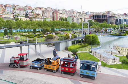 replicated: Touristic train in Miniaturk park in istanbul, the largest miniature park in the world. The park contains 105 buildings, each replicated on a scale of 1:25. Editorial