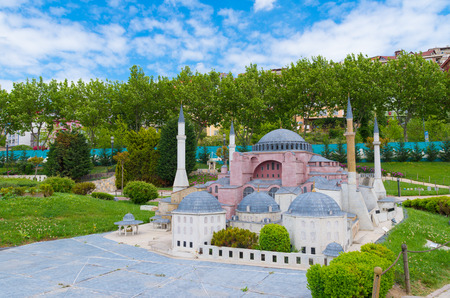 Miniaturk park in istanbul, the largest miniature park in the world. The park contains 105 buildings, each replicated on a scale of 1:25. Editorial