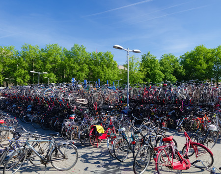 large bicycle parking at the utrecht central station in the netherlands