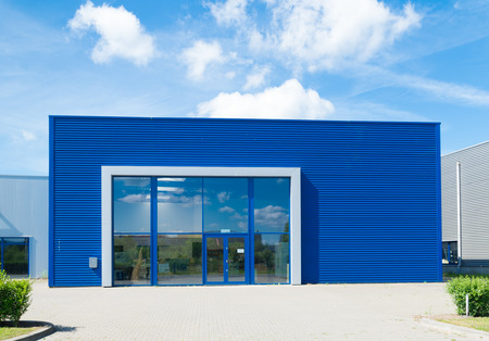 commercial docks: modern blue office building