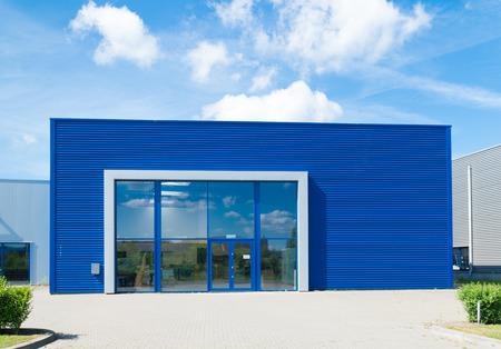 commercial dock: modern blue office building