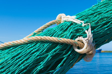 detail of a fishing net in a dutch harbor photo