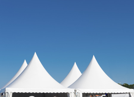 top of a white tent for large events photo