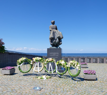 drowned: memorial statue in urk, netherlands in remembrance of all the drowned fishermen