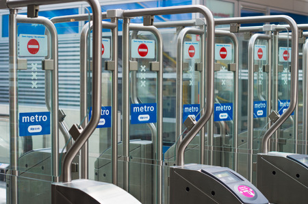 locked door: automatic railway station gates in amsterdam, netherlands