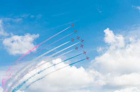 royal air force: Royal Air Force stunt team red arrows in action on the Royal Dutch Air Force days 2014 in Gilze Rijen, Netherlands
