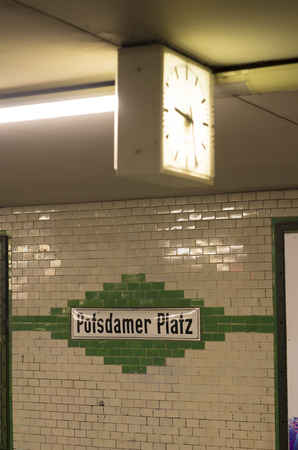 U-bahn (subway) station Potzdamer Platz in Berlin. The U-bahn serves 170 stations spread across ten lines with a total track length of 151.7 km. Editorial