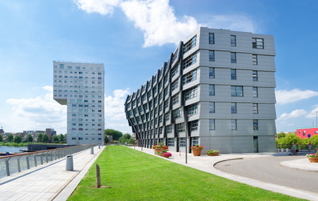 silverline: exterior of modern apartments in almere, netherlands. Almere is the youngest city in the netherlands and lies completely below sea level (2 to 5 meters) Editorial