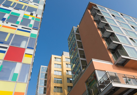 Modern buildings in the dusseldorf media harbor. The Hafen district contains some spectacular post-modern architecture, but also some bars, restaurants and pubs, which makes it a prominent lifestyle district