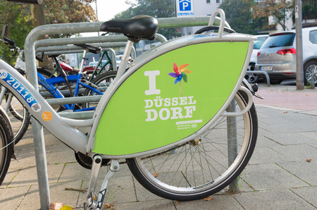 favourable: rental bike in dusseldorf, germany. Düsseldorf has the ideal conditions for cyclists. Favourable topographical conditions and short distances are whats needed for cycling, in everyday life and for pleasure Editorial