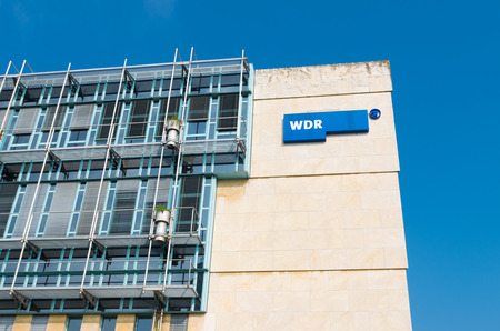 politically: exterior of the West German Broadcasting building in dusseldorf, germany. WDR is politically neutral and makes programs in every area except religious.