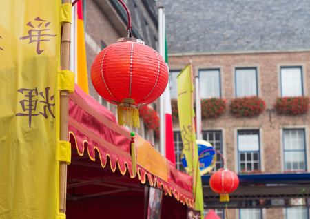 twinning: chinese lanterns in the streets of dusseldorf during the chinese festival (chinafest). This year, the State Capital Düsseldorf and the city of Chongqing in western China are celebrating the tenth anniversary of their twinning arrangement
