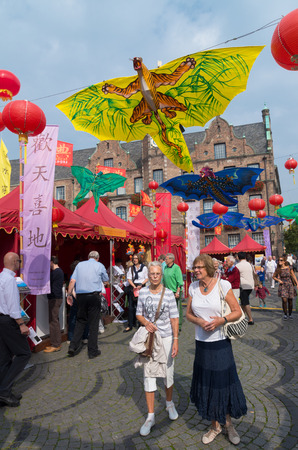 twinning: lots of visitors in the streets of dusseldorf during the chinese festival (chinafest). This year, the State Capital Düsseldorf and the city of Chongqing in western China are celebrating the tenth anniversary of their twinning arrangement Editorial