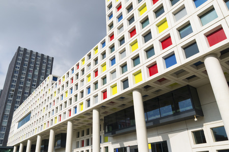 sectors: modern school building in the Hague, netherlands. The Mondriaan secondary school offers almost 200 training courses for 12 different professional sectors Editorial