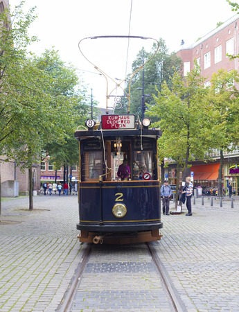 vintage tram in the streets of The Hague, netherlands