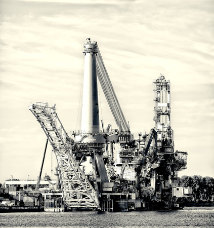 subsea: Heavy lift vessel Seven Borealis in the Rotterdam port. The ship is designed to be used for a range of operations, including platform installation, deck installation, spar deck installation, mooring installation, subsea installation and platform removal. Stock Photo