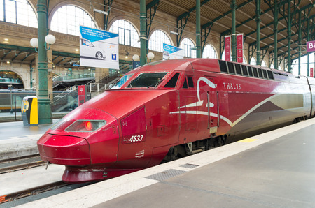 high speed train: Thalys high speed train at Gare du Nord in Paris Editorial