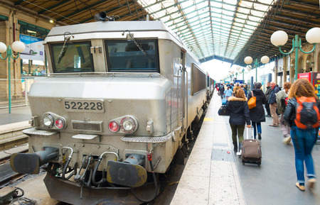 train waiting for departure at the Gare du Nord in paris. With approximately 180 million passengers per year, this is the busiest railway station of the SNCF, the french railways Editorial