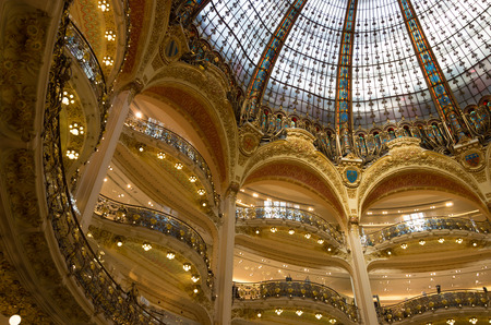 dome of the famous gallery lafayette in paris.
