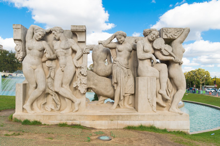 vivre: One of the two sculpture groups in front of the palais de Chaillot in paris. La Joie de vivre by Léon Driveir and La Jeunesse by Pierre-Marie Poisson, stand on the lawns at the bottom of the fountain.