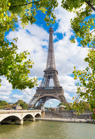 other side of: The Eiffel tower in Paris, France. Seen from the other side of the Seine river