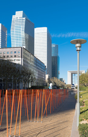 la defense: artistic red sticks in La Defense, Paris. It is the major business district in the city