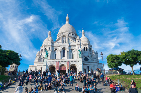 coeur: tourists in front of the sacre coeur in paris, france Editorial