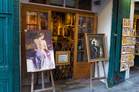gallerie: typically french art gallerie exterior in montmartre, paris