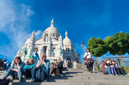 coeur: tourists in front of the sacre coeur in paris, france Stock Photo
