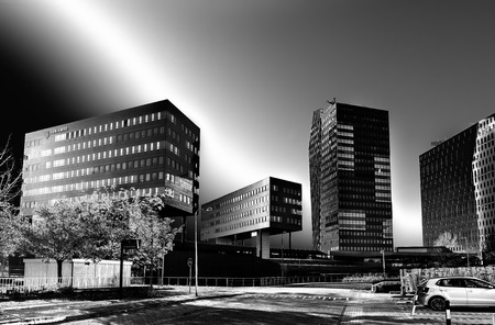 surrealistic: surrealistic looking modern office buildings in Zwolle, netherlands. Zwolle is the capital of the dutch province Overijssel Stock Photo