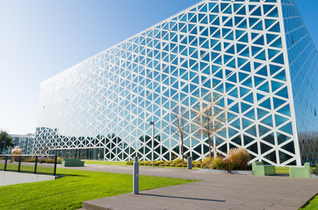 exterior of a modern school building in zwolle, netherlands. In 2011, the X-building was chosen as Building of the Year in the eastern Netherlands. Editorial