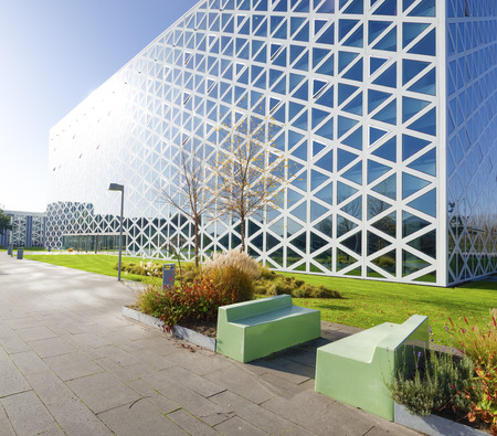 parking facilities: exterior of a modern school building in zwolle, netherlands. In 2011, the X-building was chosen as Building of the Year in the eastern Netherlands. Editorial
