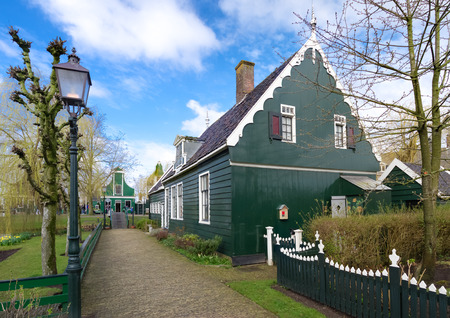 schans: authentic dutch wooden houses in the famous open-air museum Zaanse Schans in the netherlands Editorial