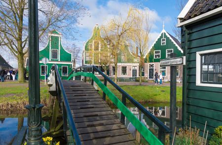 zaan: authentic dutch wooden houses in the famous open-air museum Zaanse Schans in the netherlands Editorial