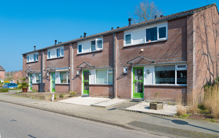 typically dutch: row of residential houses in the netherlands Stock Photo