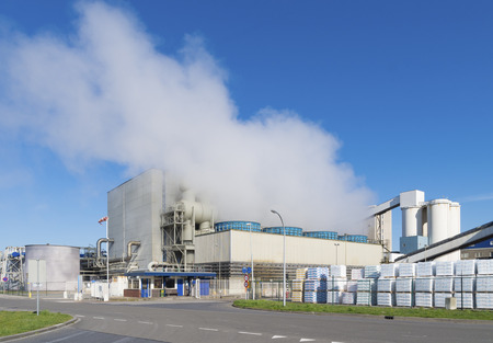 evaporating brine in a salt factory in hengelo, netherlands