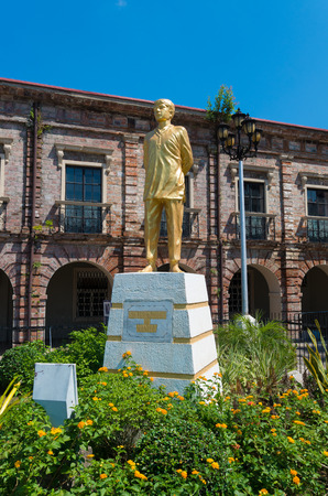 ruiz: statue of st Lorenzo Ruiz de manila in naga city. He s a Filipino saint venerated in the Roman Catholic Church and became the countrys protomartyr after his execution in Japan Stock Photo