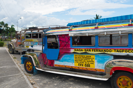 means of transportation: jeepneys in the streets of naga city. Jeepneys are the most popular means of public transportation in the Philippines.