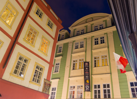 praga: PRAGUE - DECEMBER 22, 2014: Historical facades of houses in the city center. Prague is considered one of the most beautiful cities in Europe and the historical center is on the UNESCO World Heritage List