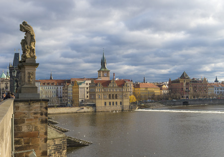 unemployment rate: Charles bridge view on the old town side of prague.  Prague has the lowest unemployment rate in the European Union