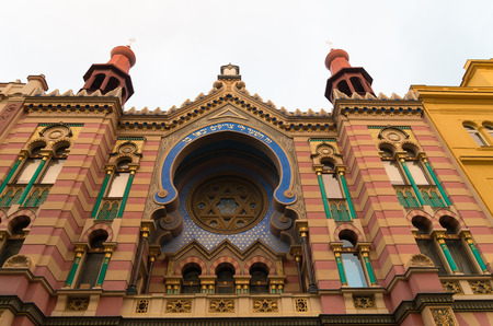 synagogues: exterior of the jubilee synagogue in prague. It is the youngest and the largest synagogue in prague. Jubilee Synagogue was built in 1905-06 in Art Nouveau and pseudo moorish styles as a compensation for demolished synagogues in the Jewish Quarter.