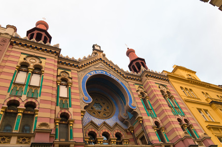 jewish quarter: exterior of the jubilee synagogue in prague. It is the youngest and the largest synagogue in prague. Jubilee Synagogue was built in 1905-06 in Art Nouveau and pseudo moorish styles as a compensation for demolished synagogues in the Jewish Quarter.